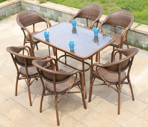 Wholesale Rattan Patio Rectangle Glass Top Dining Table(YF-BT415)
