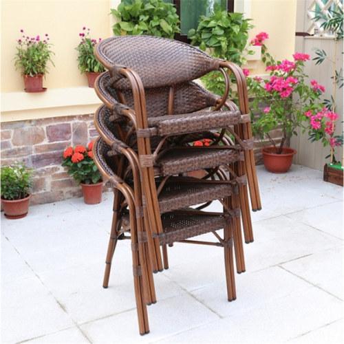Wholesale Patio PE Aluminum Rattan Bamboo Chair(YF-BT411)