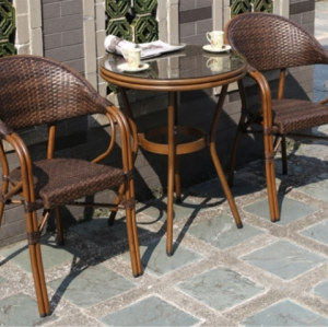 Wholesale Rattan Patio Dining Table With Glass Top (YF-BT410)