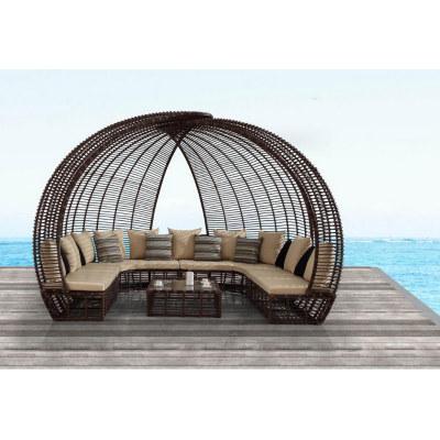 Wholesale rattan outdoor modern practical cover sunbed(YF-BT401)