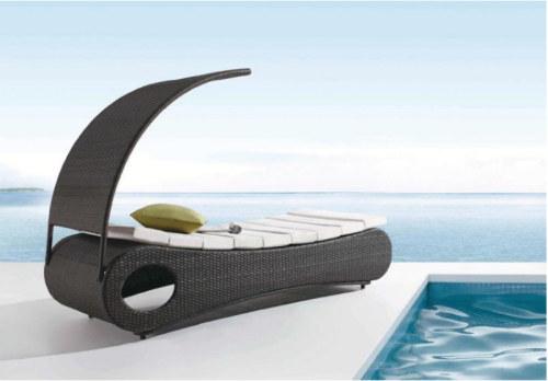 Wholesale aluminium rattan outdoor hand made sun lounger (YF-BT408)