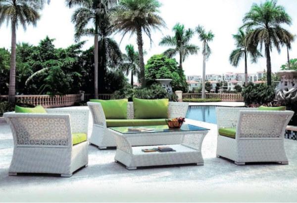 Wholesale Modern White Garden PE Rattan Sofa Set(YF-SF307#)