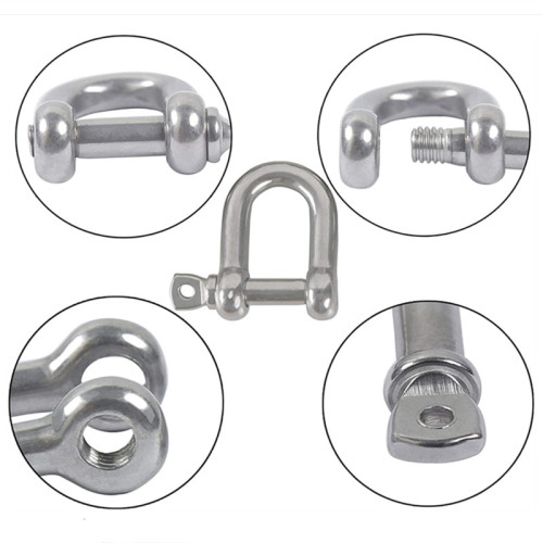 Stainless d Shackle Heavy Duty 1/2 Size with Safety Pin Shackles for Wire Rope and Chain