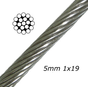 Stainless Aircraft Steel Wire Rope Cable 1x19 1/8Inch Wire Rope for Railing  Decking  DIY Balustrade