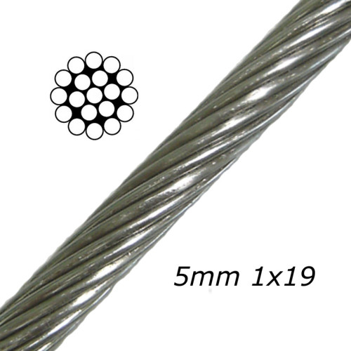 Stainless Aircraft Steel Wire Rope Cable 1x19 1/8Inch Wire Rope for Railing| Decking| DIY Balustrade