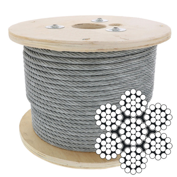 Hot Galvanized 7x19 Wire Rope Aircraft Wire Cable 6mm for Tensile Structure and shade Sail