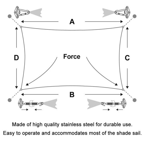 Shade Sail Hardware Kit for Triangle Rectangle Sun Shade Sail Installation, 304 Grade Stainless for Garden Outdoors