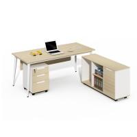 China luxury office furniture factory 2m L type office desk and bookshelf CF-BKE1680B