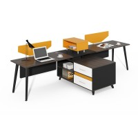 Grey Frame One Sided 2 Person Workstation with Screens WS