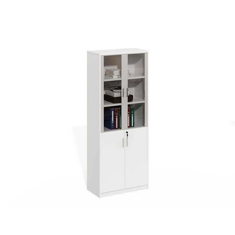 White Aluminum Frame With Glass Door File Cabinet With Lock WS-LY0820E