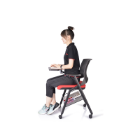 2019 New type best quality plastic Removable Book Basket folding chairs with Writing Table WS-ID07