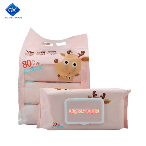 Sensitive Skin Baby Wipes Textured Fragrance , 99.9% Water 3 Packs (240 pcs)