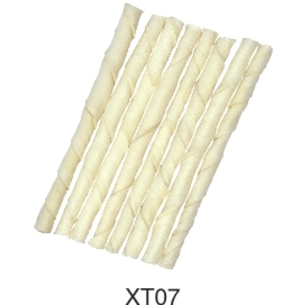 wholesale Beef Rawhide bleach twisted stick for pet chewing