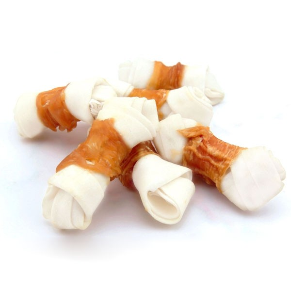 wholesale white rawhide knot by chicken for pet